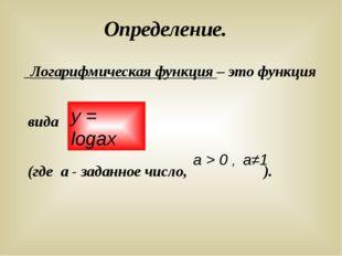 Определение. Логарифмическая функция – это функция вида (где а - заданное чис
