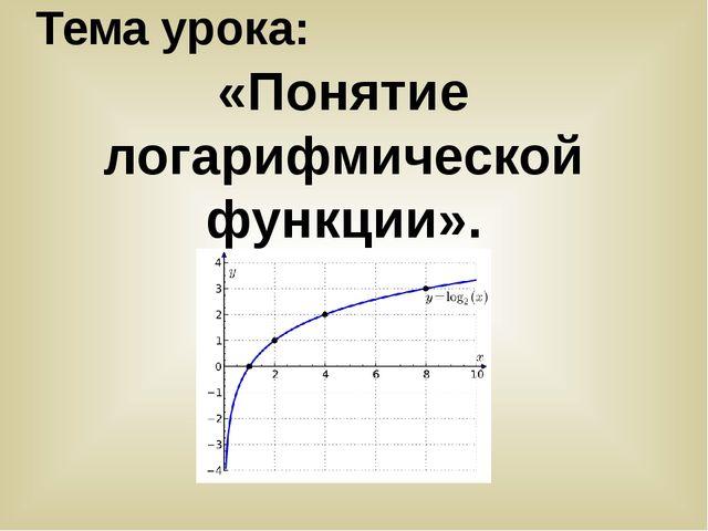 Тема урока: «Понятие логарифмической функции».