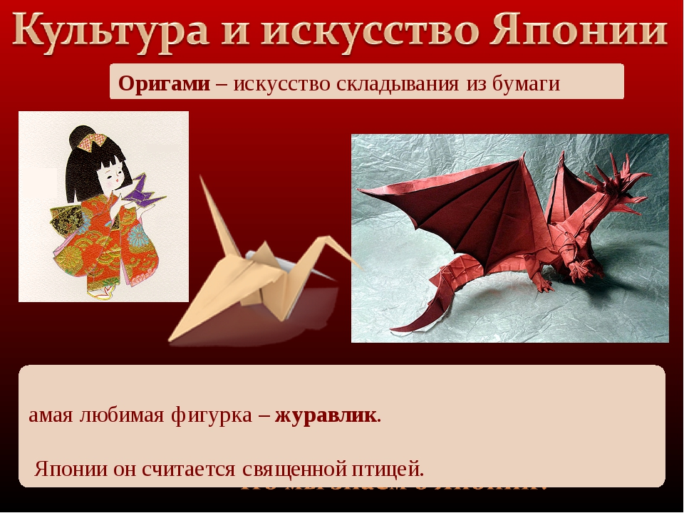 Оригами – искусство складывания из бумаги Самая любимая фигурка – журавлик. В...