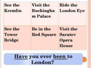 Have you ever been to London? See the Kremlin Visit the Buckingham Palace Rid