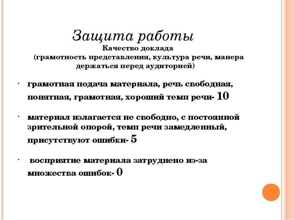 Защита работы  Качество доклада (грамотность представления, культура речи,...
