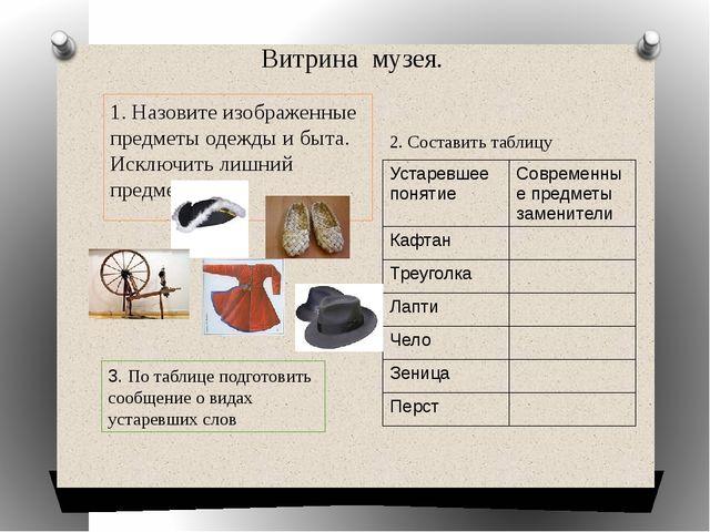 1. Назовите изображенные предметы одежды и быта. Исключить лишний предмет. 2....