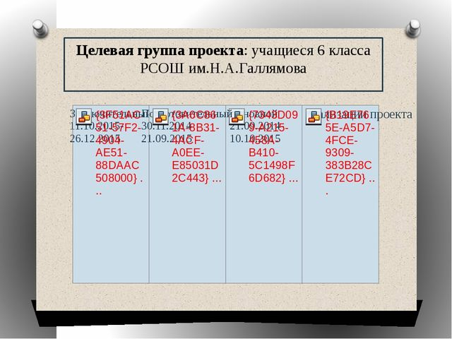 Целевая группа проекта: учащиеся 6 класса РСОШ им.Н.А.Галлямова