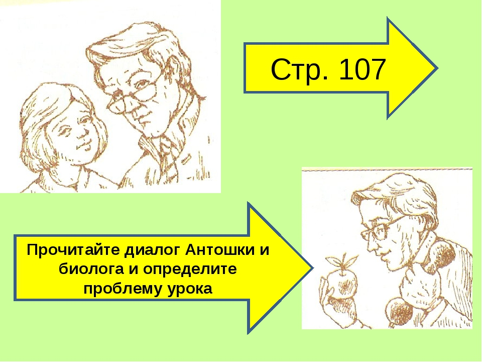 Стр. 107 Прочитайте диалог Антошки и биолога и определите проблему урока