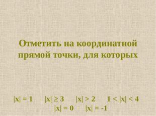 Отметить на координатной прямой точки, для которых |x| = 1 |x| ≥ 3 |x| > 2 1