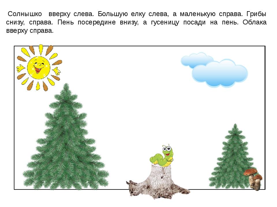 Солнышко вверху слева. Большую елку слева, а маленькую справа. Грибы снизу,...