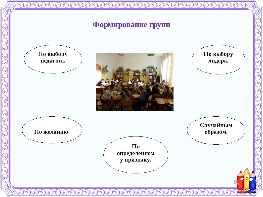 Формирование групп По выбору педагога. По желанию. По выбору лидера. Случайны...