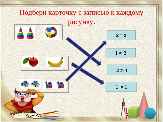 Подбери карточку с записью к каждому рисунку. 2 = 2 1 < 2 2 > 1 1 = 1