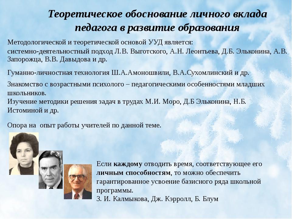 Теоретическое обоснование личного вклада педагога в развитие образования Если...