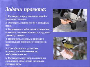 Задачи проекта: 1. Расширить представление детей о зимующих птицах. 2. Обобщи