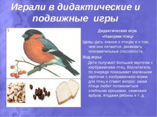 Играли в дидактические и подвижные игры Дидактическая игра «Накорми птиц» Цел