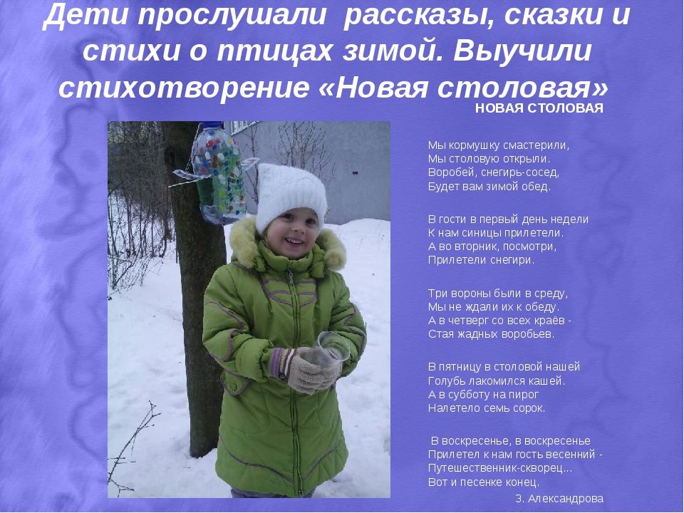Дети прослушали рассказы, сказки и стихи о птицах зимой. Выучили стихотворени...