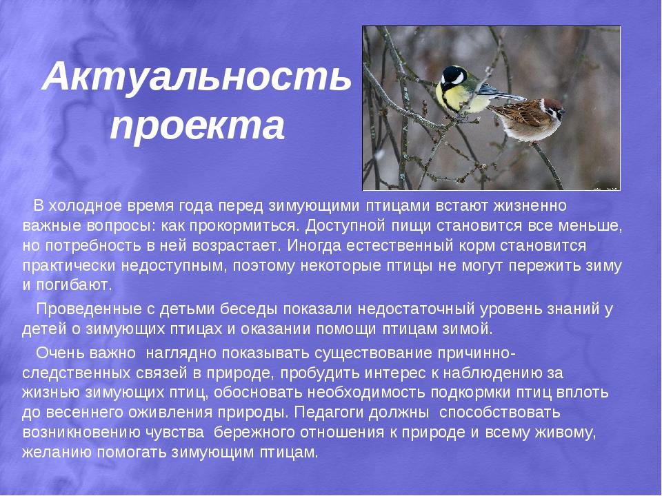 Актуальность проекта В холодное время года перед зимующими птицами встают жиз...
