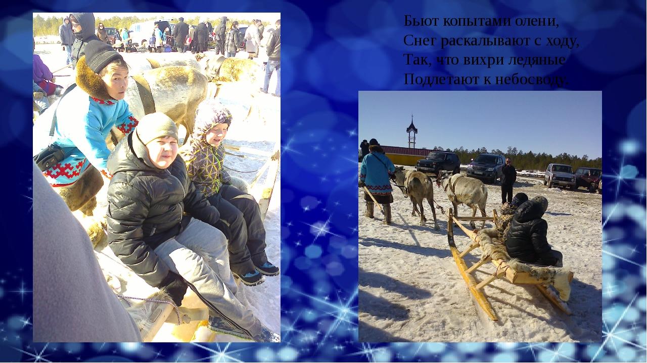 Бьют копытами олени, Снег раскалывают с ходу, Так, что вихри ледяные Подлетаю...