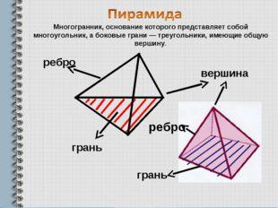 ребро вершина грань ребро грань Многогранник, основание которого представляет