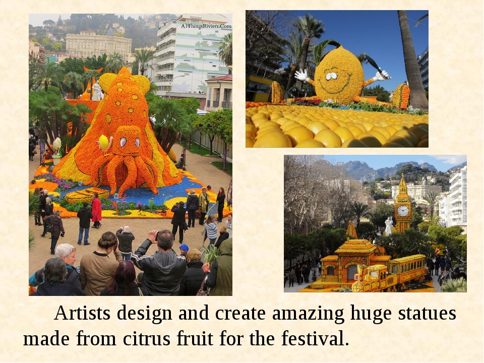 Artists design and create amazing huge statues made from citrus fruit for...