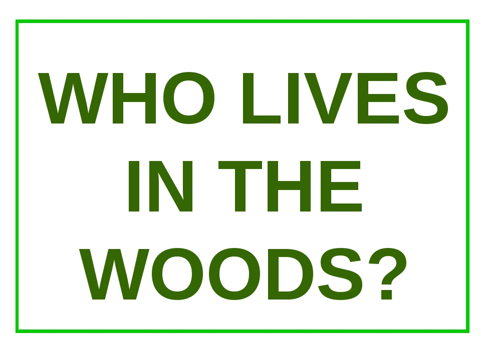 WHO LIVES IN THE WOODS?
