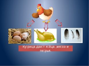 Ку̀рица даѐт я̀йца ,мя̀со и пѐрья.