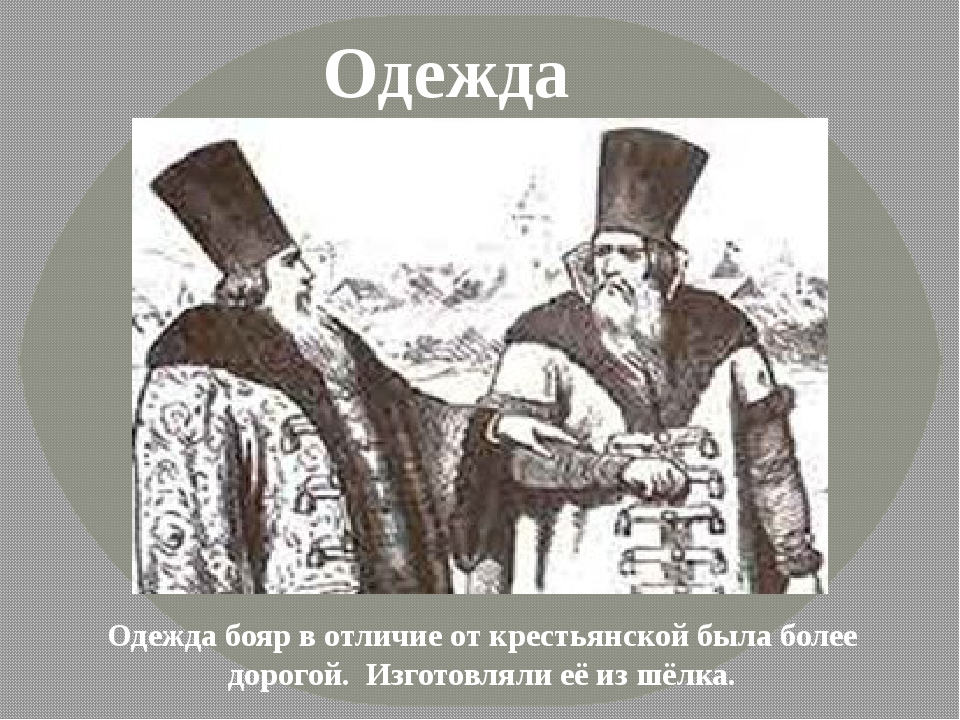 Одежда Одежда бояр в отличие от крестьянской была более дорогой. Изготовляли...