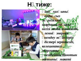 Нәтиже: Қазақ халқының қалдықсыз жүргізілген шаруашылығының негізі жобаға енг