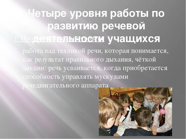 Четыре уровня работы по развитию речевой деятельности учащихся 1. Произносите...