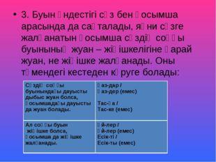 3. Буын үндестігі сөз бен қосымша арасында да сақталады, яғни сөзге жалғанаты