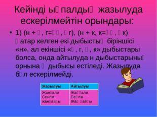 Кейінді ықпалдың жазылуда ескерілмейтін орындары: 1) (н + ғ, г=ңғ, ңг), (н +