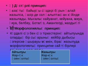 Ә) Дәстүрлі принцип: Қазақтың байырғы сөздері бұрын қалай жазылса, қазір де с