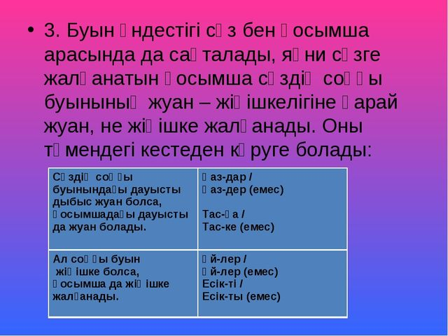 3. Буын үндестігі сөз бен қосымша арасында да сақталады, яғни сөзге жалғанаты...