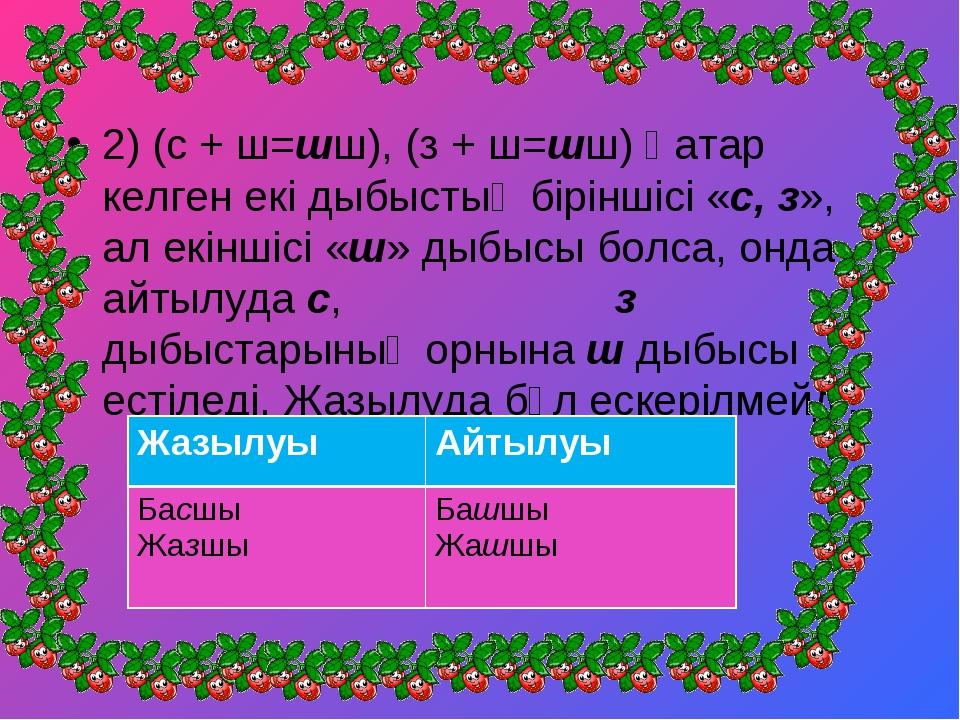 2) (с + ш=шш), (з + ш=шш) Қатар келген екі дыбыстың біріншісі «с, з», ал екін...