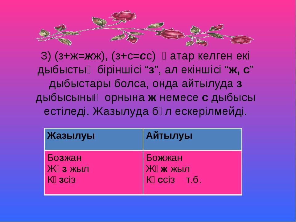 """3) (з+ж=жж), (з+с=сс) Қатар келген екі дыбыстың біріншісі """"з"""", ал екіншісі """"ж..."""