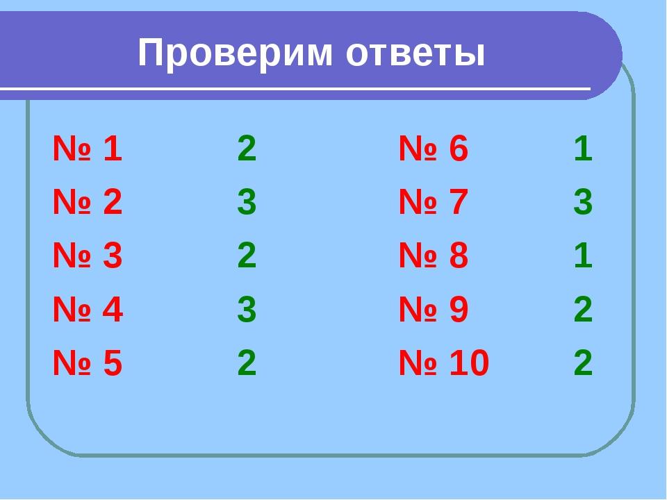Проверим ответы № 1 2 № 2 3 № 3 2 № 4 3 № 5 2 № 6 1 № 7 3 № 8 1 № 9 2 № 10 2
