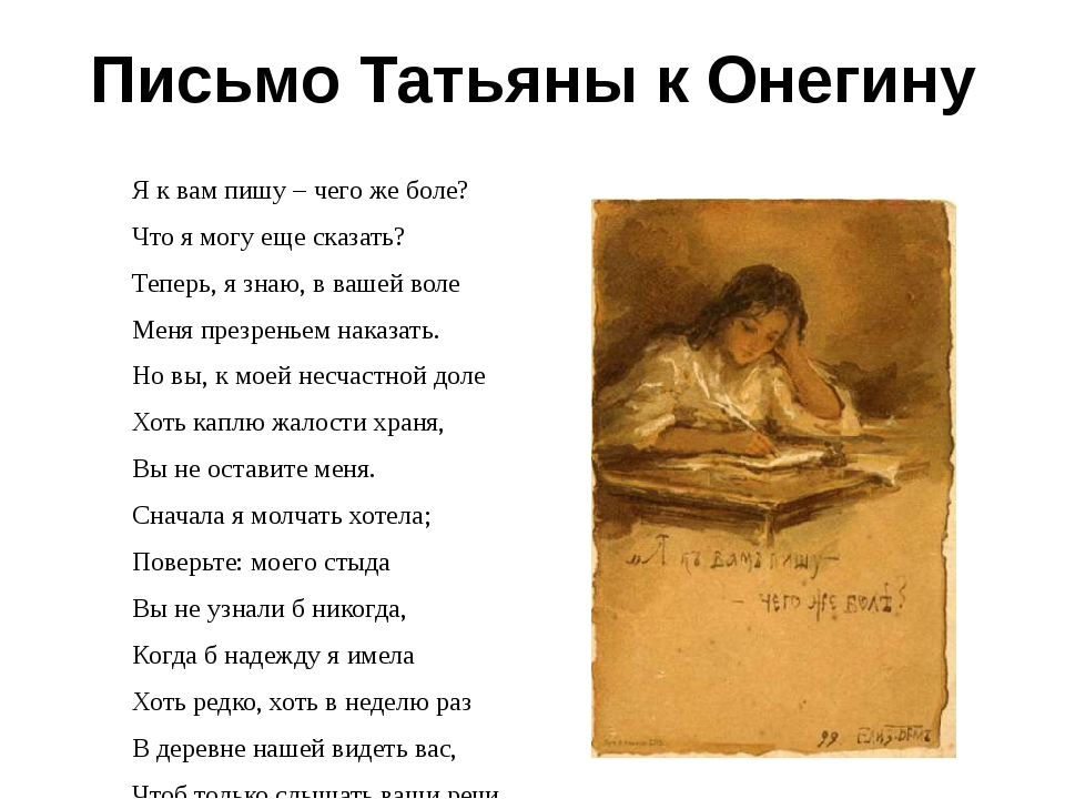 Письмо Татьяны к Онегину Я к вам пишу – чего же боле? Что я могу еще сказать?...