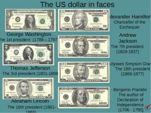 The US dollar in faces Abraham Lincoln The 16th president (1861-1865) Benjami