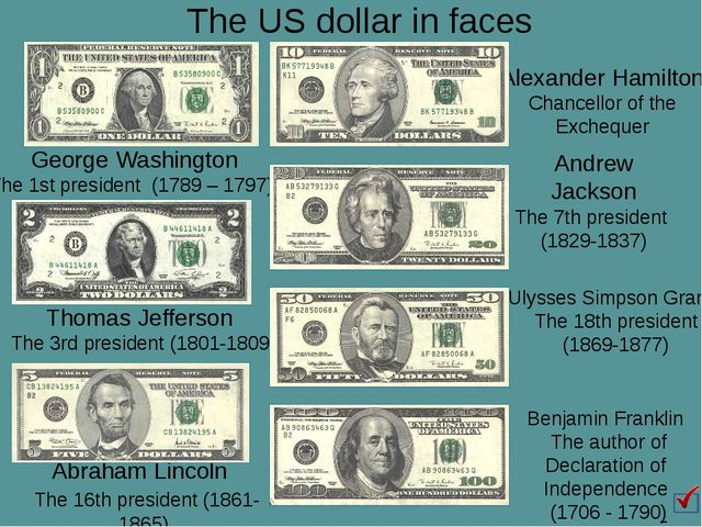 The US dollar in faces Abraham Lincoln The 16th president (1861-1865) Benjami...