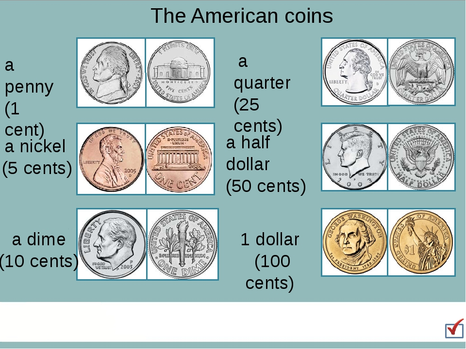 The American coins a penny (1 cent) a nickel (5 cents) a dime (10 cents) a qu...