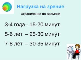 Нагрузка на зрение 3-4 года– 15-20 минут 5-6 лет– 25-30 минут 7-8 лет– 30-