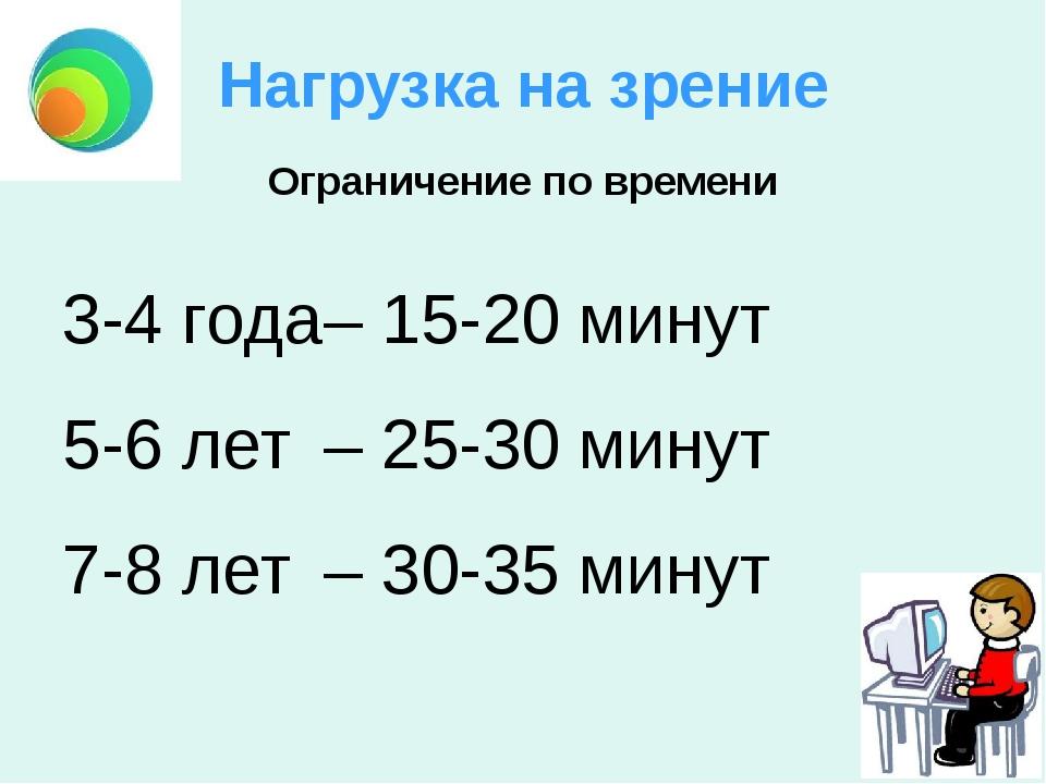 Нагрузка на зрение 3-4 года– 15-20 минут 5-6 лет– 25-30 минут 7-8 лет– 30-...