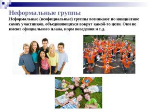 Неформальные группы Неформальные(неофициальные) группы возникают по инициати