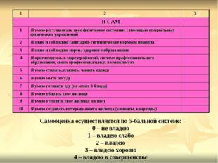 Самооценка осуществляется по 5-бальной системе: 0 – не владею 1 – владею слаб