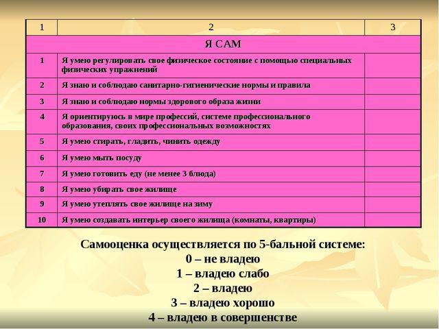 Самооценка осуществляется по 5-бальной системе: 0 – не владею 1 – владею слаб...