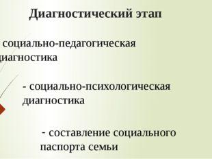 Диагностический этап - социально-педагогическая диагностика - социально-психо