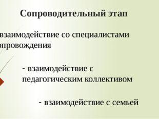 Сопроводительный этап - взаимодействие со специалистами сопровождения - взаим