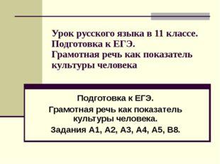 Урок русского языка в 11 классе. Подготовка к ЕГЭ. Грамотная речь как показат