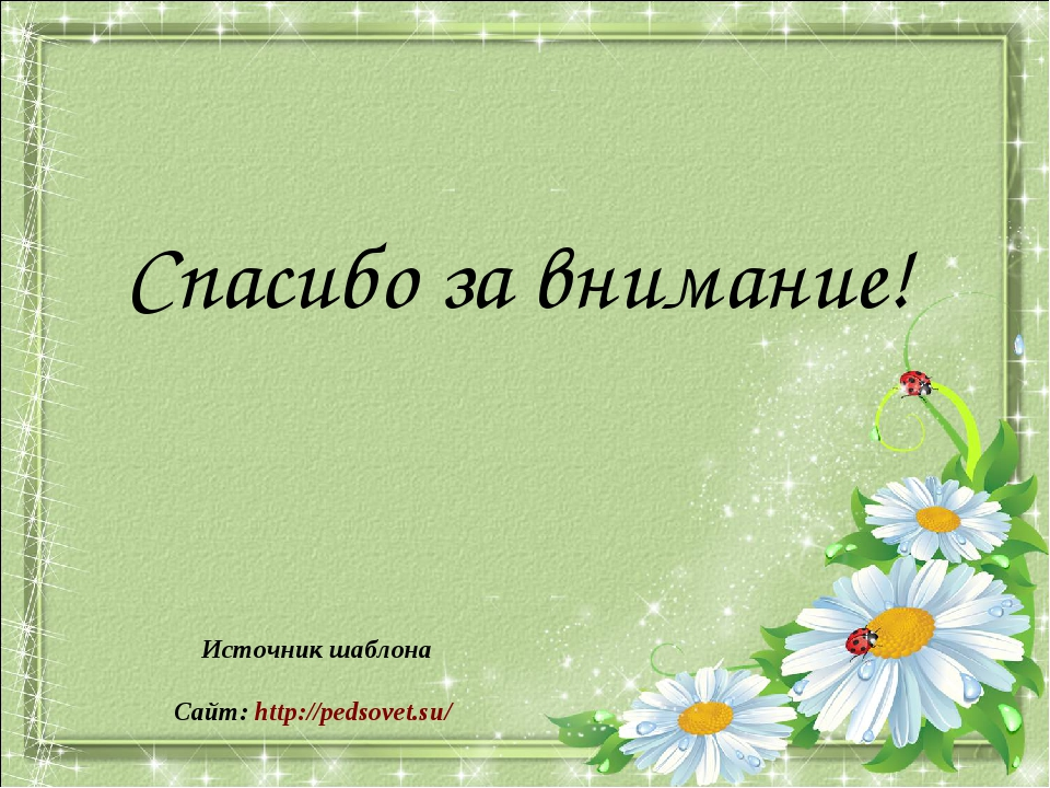 Спасибо за внимание! Источник шаблона Сайт: http://pedsovet.su/