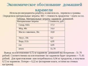 Экономическое обоснование домашней карамели Вывод: на изготовление 0,72 кг ка