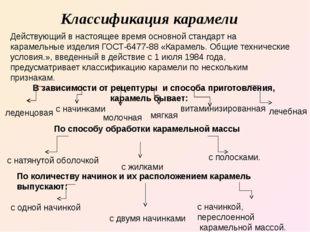 Классификация карамели Действующий в настоящее время основной стандарт на кар