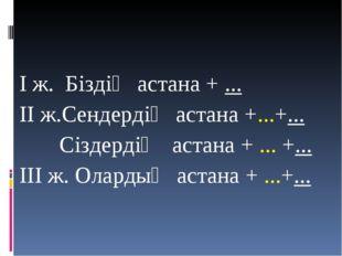 І ж. Біздің астана + ... ІІ ж.Сендердің астана +...+... Сіздердің астана + ..