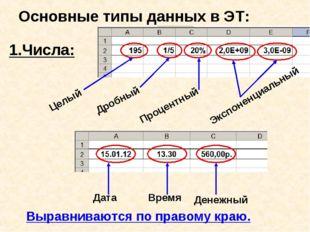 Основные типы данных в ЭТ: 1.Числа: Целый Дробный Процентный Экспоненциальный
