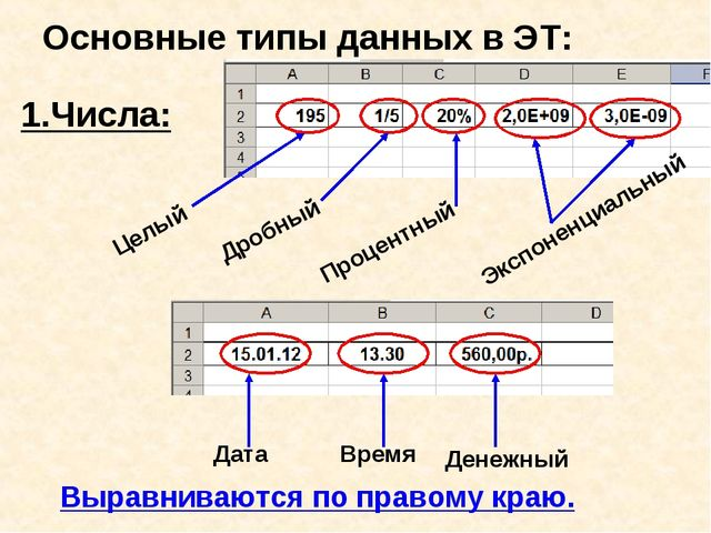 Основные типы данных в ЭТ: 1.Числа: Целый Дробный Процентный Экспоненциальный...